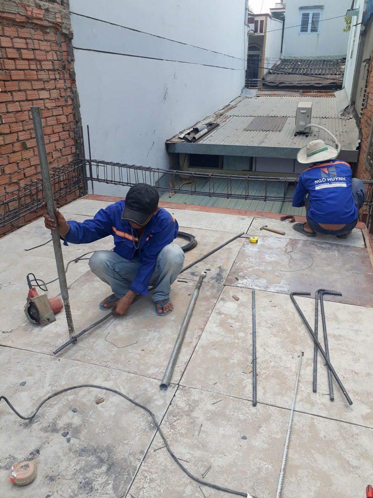 Gia công cốt thép sàn lầu 1 xây nhà ở anh Tuấn quận 10