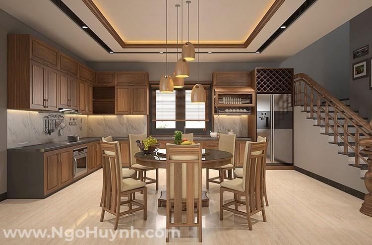 Phòng bếp thiết kế hoàn toàn bằng gỗ tự nhiên