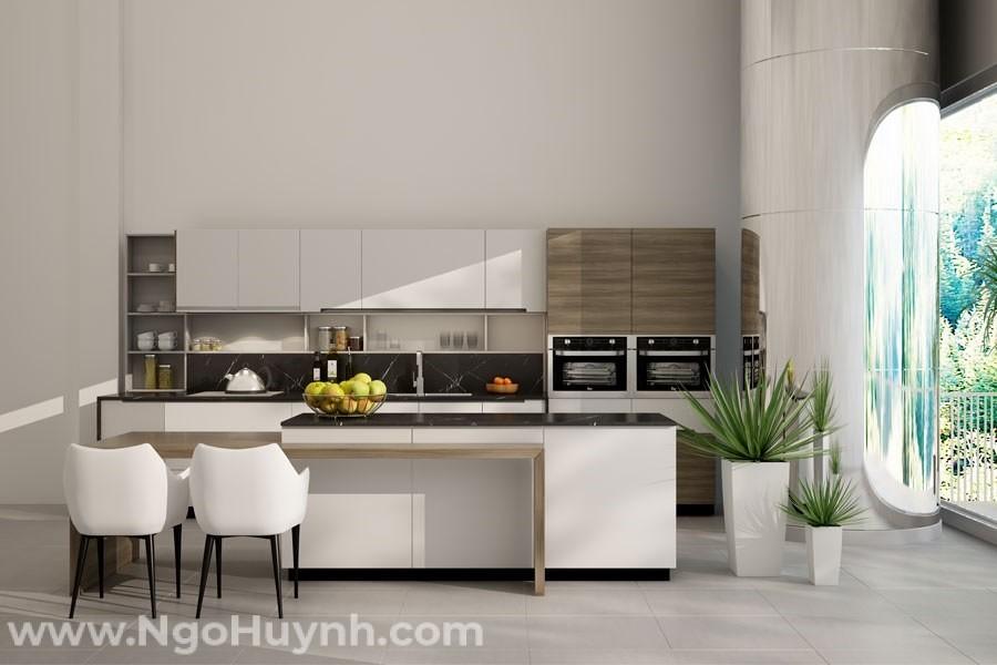 Mẫu thiết kế nội thất phòng bếp nhỏ, hiện đại
