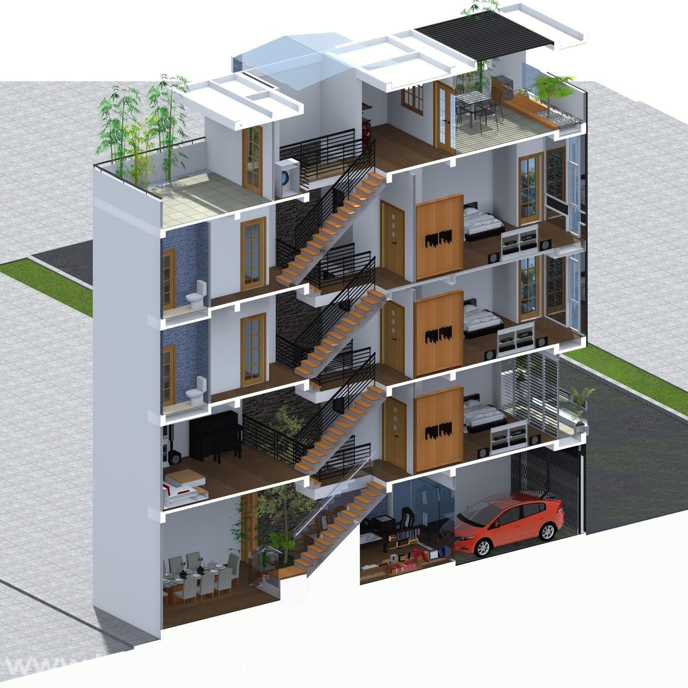 Kiến trúc nhà ở lệch tầng mang lại không gian độc đáo và mới lạ