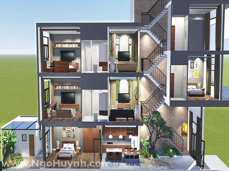 Thiết kế nhà ở lệch tầng phù hợp với kiến trúc nhà ống, nhà phố có diện tích hẹp ngang