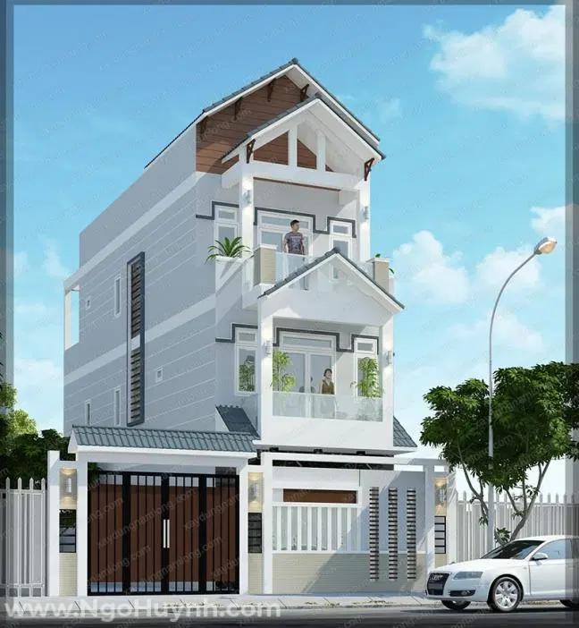 Thiết kế nhà 3 tầng mái thái với gam màu tươi sáng được nhiều người lựa chọn