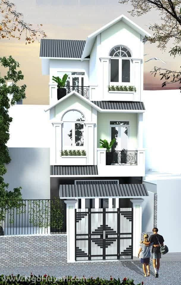 Nhà mái Thái 1 trệt 2 lầu phong cách tân cổ điển (8)