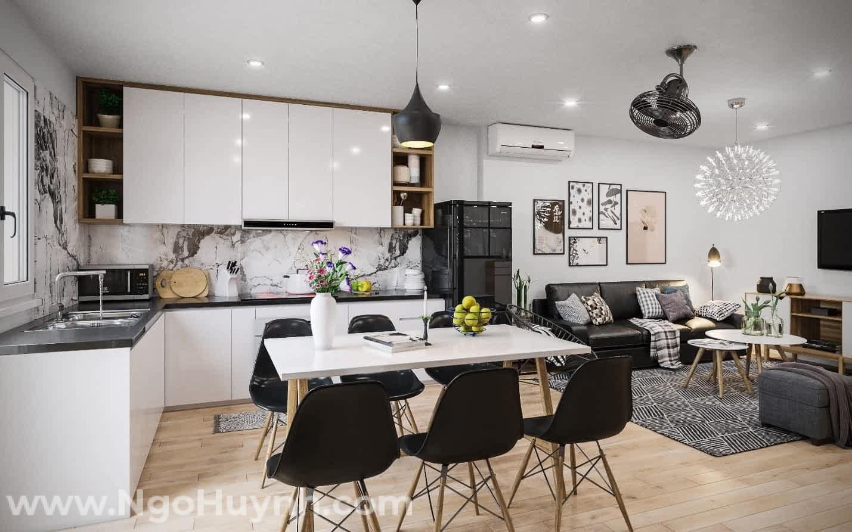 thiết kế phòng khách liền kề với phòng bếp
