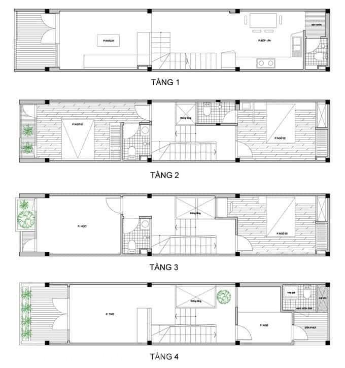 Thiết kế nhà ống lệch tầng 45m2 cao 4 tầng đầy đủ tiện nghi